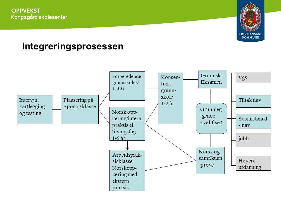 Kongsgård skolesenter Integreringsprosessen Intervju, kartlegging og testing Plassering på Spor og klasse Forberedende grunnskolekl. 1-3 år Norsk opp-