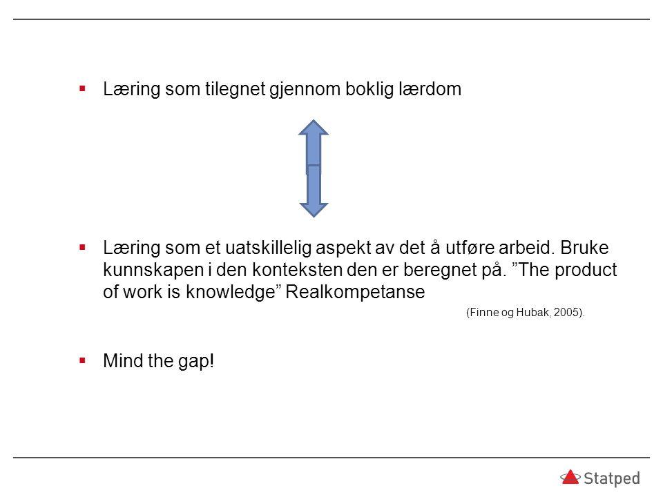  Læring som tilegnet gjennom boklig lærdom  Læring som et uatskillelig aspekt av det å utføre arbeid.