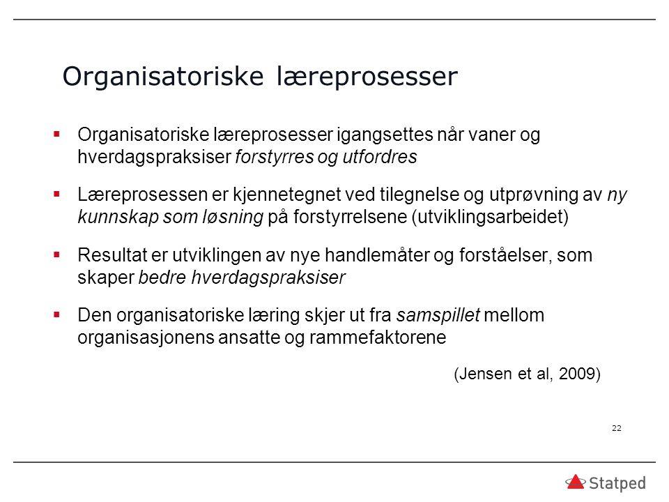  Organisatoriske læreprosesser igangsettes når vaner og hverdagspraksiser forstyrres og utfordres  Læreprosessen er kjennetegnet ved tilegnelse og utprøvning av ny kunnskap som løsning på forstyrrelsene (utviklingsarbeidet)  Resultat er utviklingen av nye handlemåter og forståelser, som skaper bedre hverdagspraksiser  Den organisatoriske læring skjer ut fra samspillet mellom organisasjonens ansatte og rammefaktorene (Jensen et al, 2009) Organisatoriske læreprosesser 22