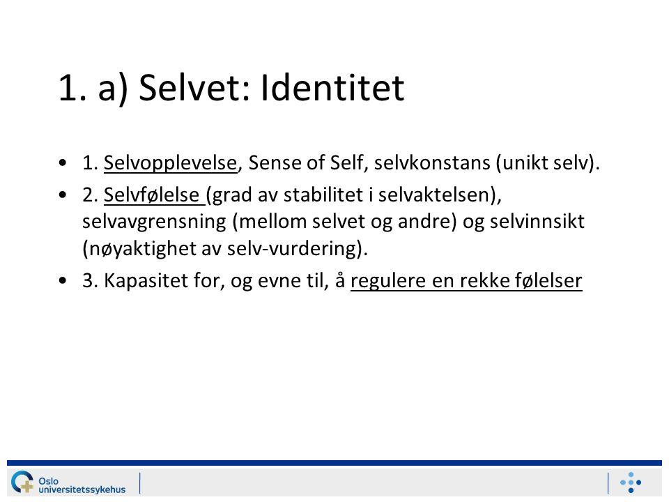 1.a) Selvet: Identitet 1. Selvopplevelse, Sense of Self, selvkonstans (unikt selv).