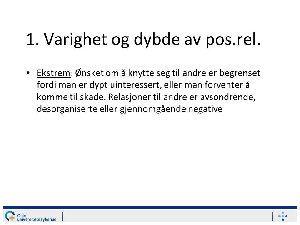 1.Varighet og dybde av pos.rel.