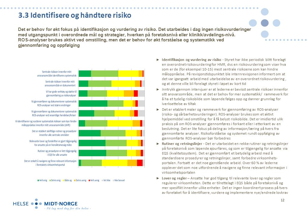 3.3 Identifisere og håndtere risiko ► Identifikasjon og vurdering av risiko - Styret har ikke periodisk blitt forelagt en overordnet risikovurdering for HMR, dvs en risikovurdering som viser hva som er de (for eksempel 10-15) mest sentrale risikoene som kan hindre måloppnåelse.