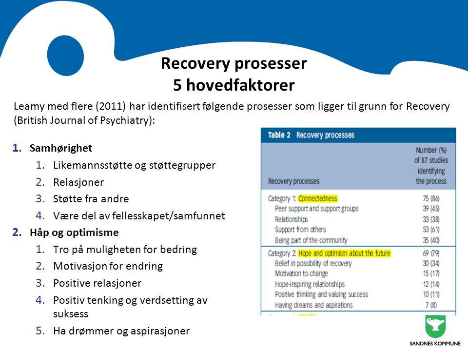 Recovery prosesser 5 hovedfaktorer 1. Samhørighet 1.
