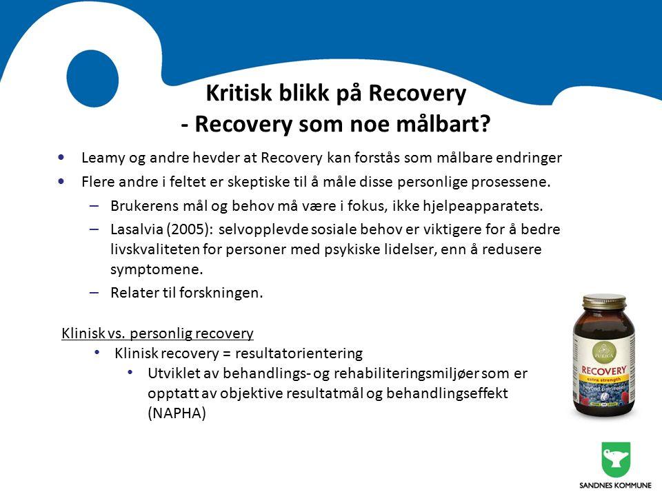Kritisk blikk på Recovery - Recovery som noe målbart.