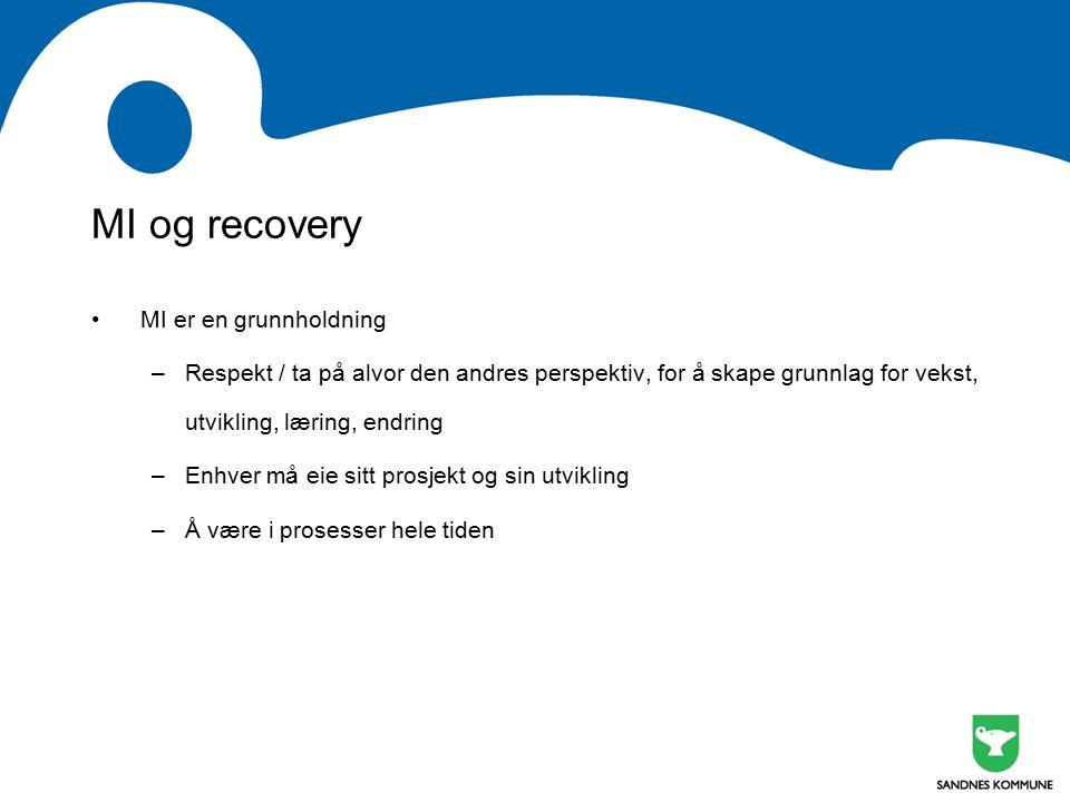 MI og recovery MI er en grunnholdning –Respekt / ta på alvor den andres perspektiv, for å skape grunnlag for vekst, utvikling, læring, endring –Enhver må eie sitt prosjekt og sin utvikling –Å være i prosesser hele tiden