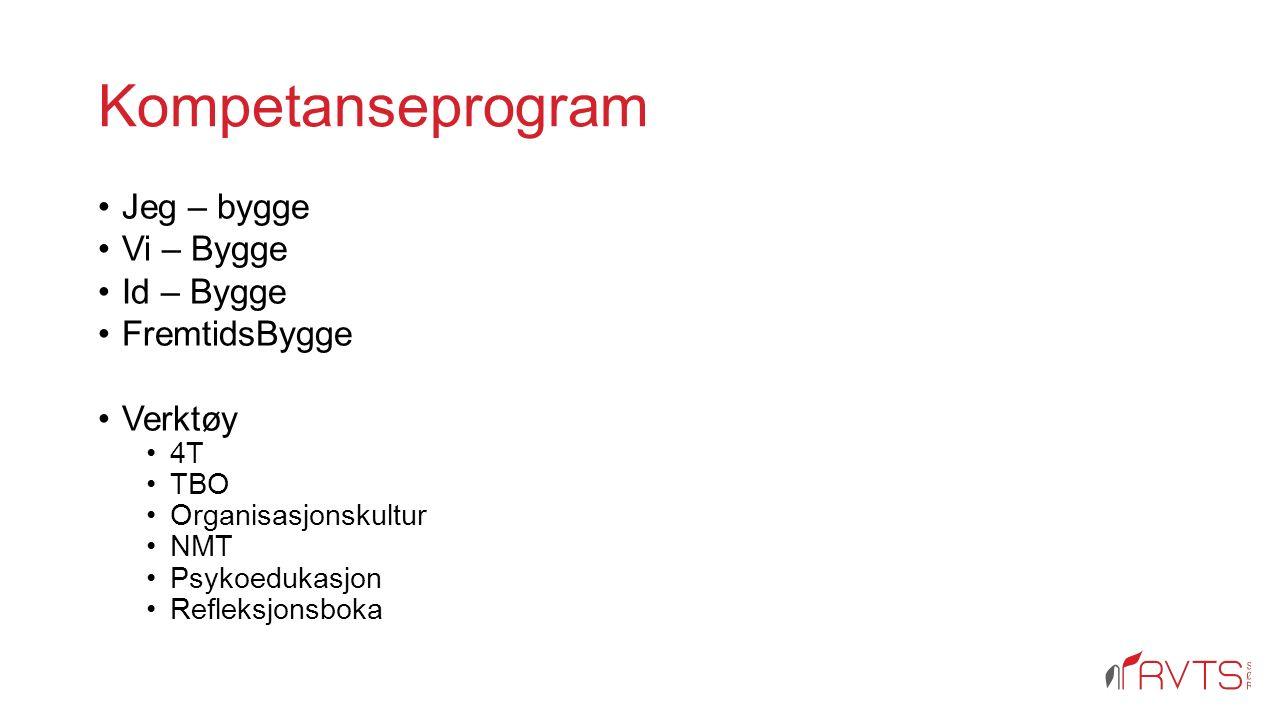Kompetanseprogram Jeg – bygge Vi – Bygge Id – Bygge FremtidsBygge Verktøy 4T TBO Organisasjonskultur NMT Psykoedukasjon Refleksjonsboka
