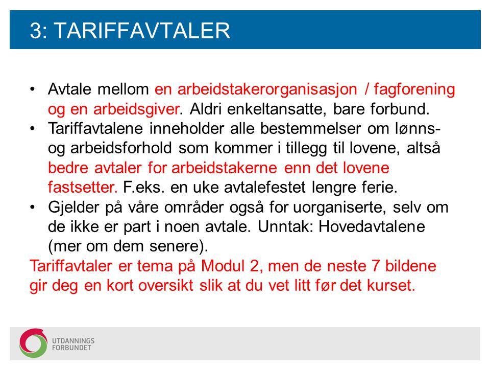 3: TARIFFAVTALER Avtale mellom en arbeidstakerorganisasjon / fagforening og en arbeidsgiver. Aldri enkeltansatte, bare forbund. Tariffavtalene innehol