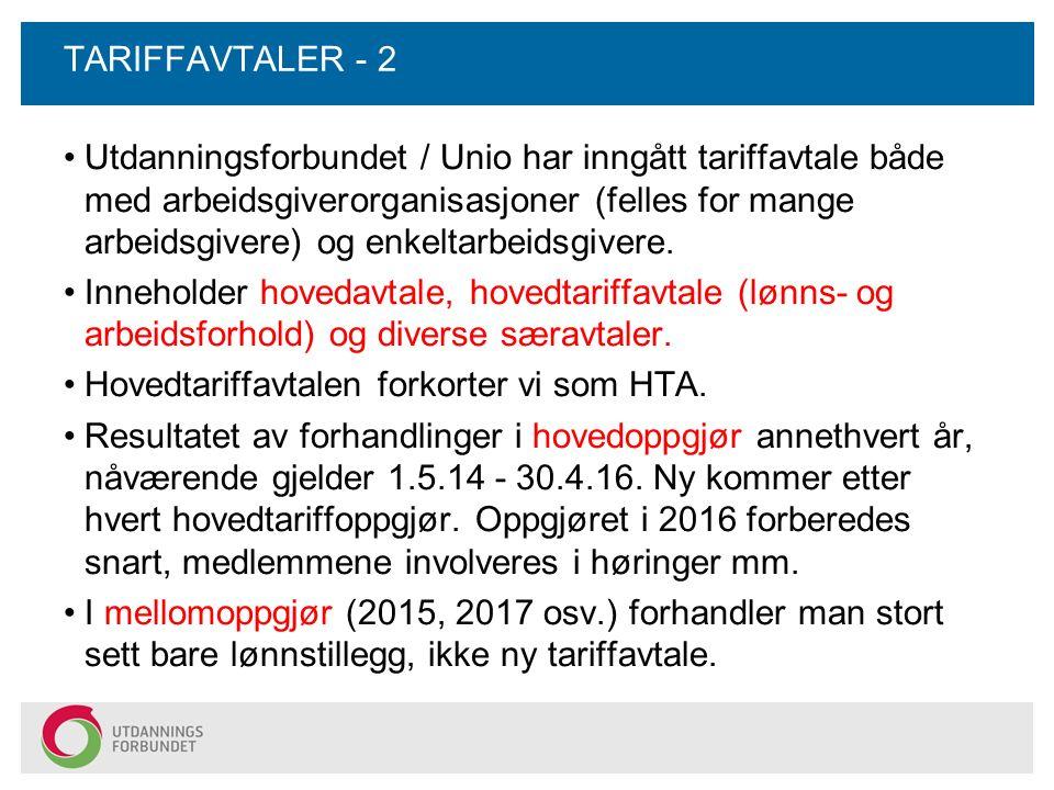TARIFFAVTALER - 2 Utdanningsforbundet / Unio har inngått tariffavtale både med arbeidsgiverorganisasjoner (felles for mange arbeidsgivere) og enkeltar
