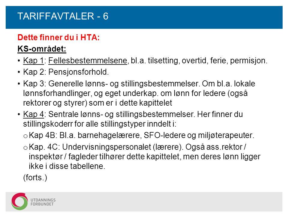 TARIFFAVTALER - 6 Dette finner du i HTA: KS-området: Kap 1: Fellesbestemmelsene, bl.a. tilsetting, overtid, ferie, permisjon. Kap 2: Pensjonsforhold.