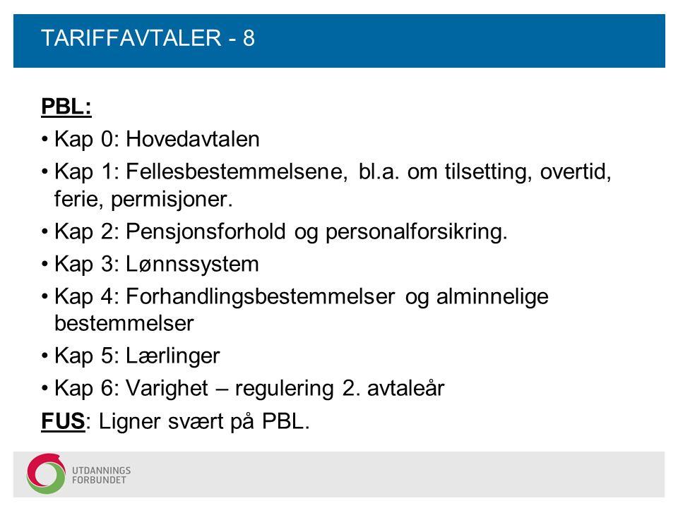 TARIFFAVTALER - 8 PBL: Kap 0: Hovedavtalen Kap 1: Fellesbestemmelsene, bl.a. om tilsetting, overtid, ferie, permisjoner. Kap 2: Pensjonsforhold og per