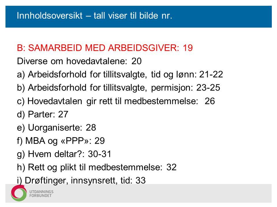 Innholdsoversikt – tall viser til bilde nr. B: SAMARBEID MED ARBEIDSGIVER: 19 Diverse om hovedavtalene: 20 a) Arbeidsforhold for tillitsvalgte, tid og