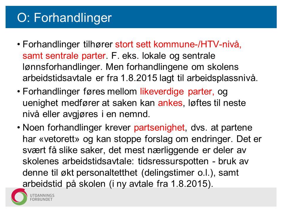 O: Forhandlinger Forhandlinger tilhører stort sett kommune-/HTV-nivå, samt sentrale parter. F. eks. lokale og sentrale lønnsforhandlinger. Men forhand