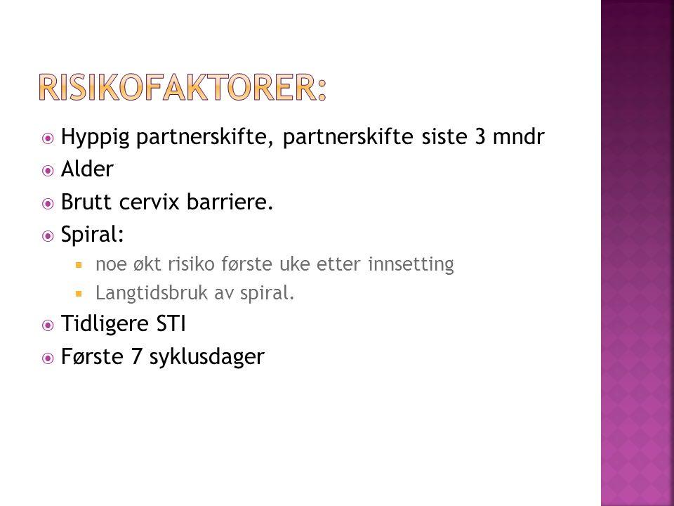  Hyppig partnerskifte, partnerskifte siste 3 mndr  Alder  Brutt cervix barriere.