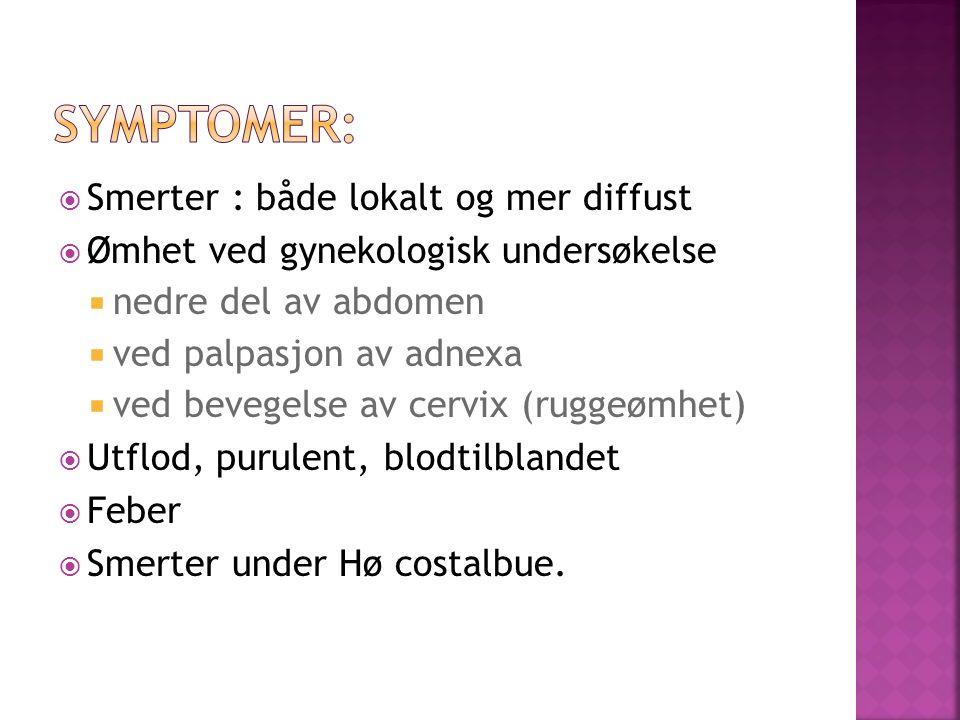 Smerter : både lokalt og mer diffust  Ømhet ved gynekologisk undersøkelse  nedre del av abdomen  ved palpasjon av adnexa  ved bevegelse av cervix (ruggeømhet)  Utflod, purulent, blodtilblandet  Feber  Smerter under Hø costalbue.