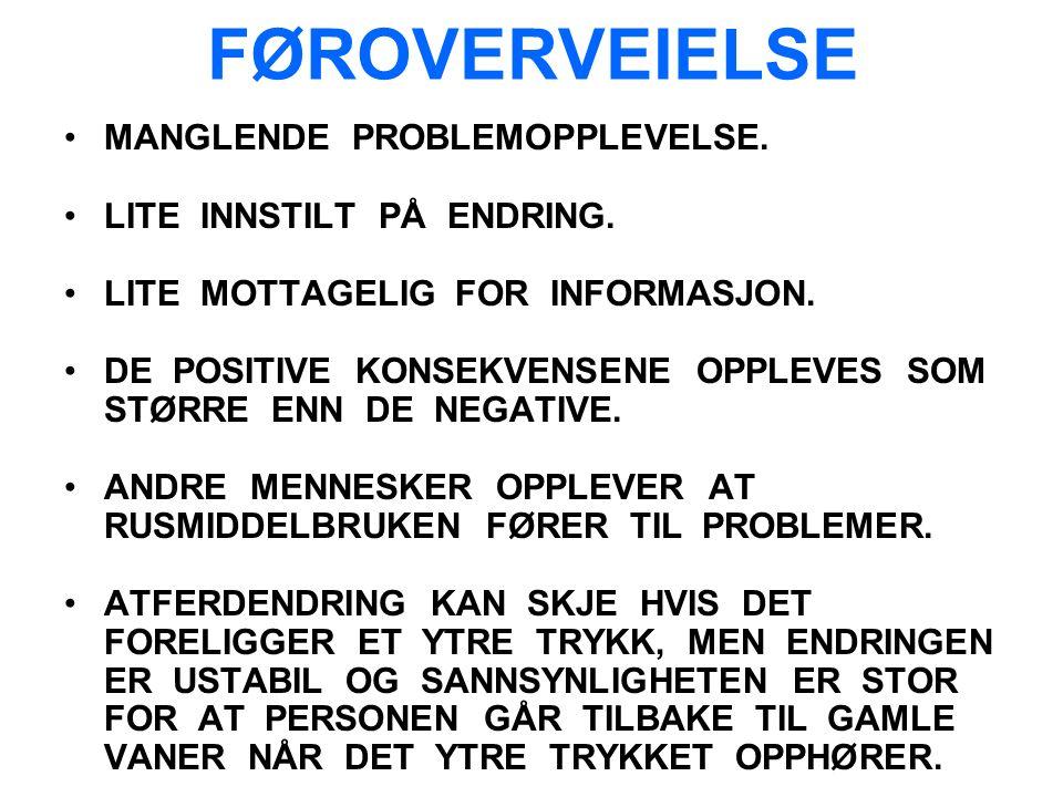 FØROVERVEIELSE MANGLENDE PROBLEMOPPLEVELSE. LITE INNSTILT PÅ ENDRING.