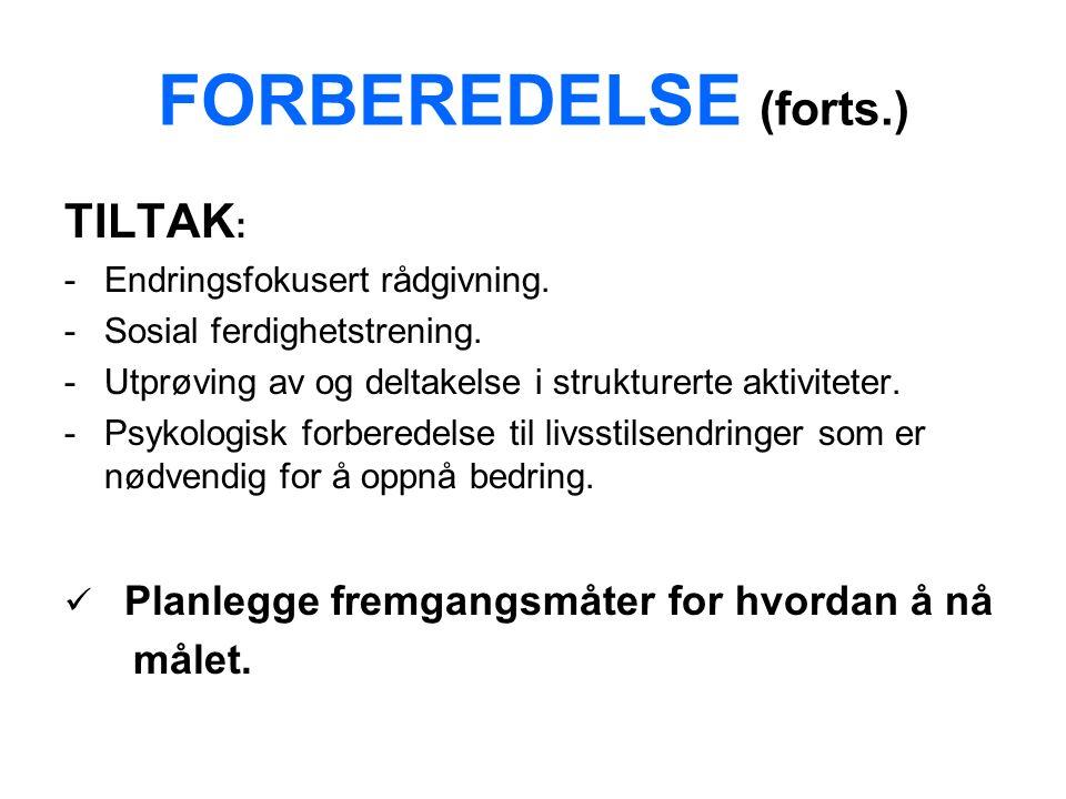FORBEREDELSE (forts.) TILTAK : -Endringsfokusert rådgivning.