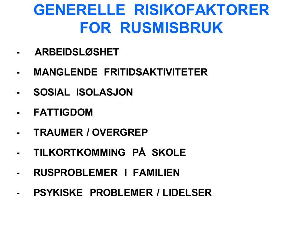 GENERELLE RISIKOFAKTORER FOR RUSMISBRUK - ARBEIDSLØSHET - MANGLENDE FRITIDSAKTIVITETER - SOSIAL ISOLASJON - FATTIGDOM - TRAUMER / OVERGREP - TILKORTKOMMING PÅ SKOLE - RUSPROBLEMER I FAMILIEN - PSYKISKE PROBLEMER / LIDELSER