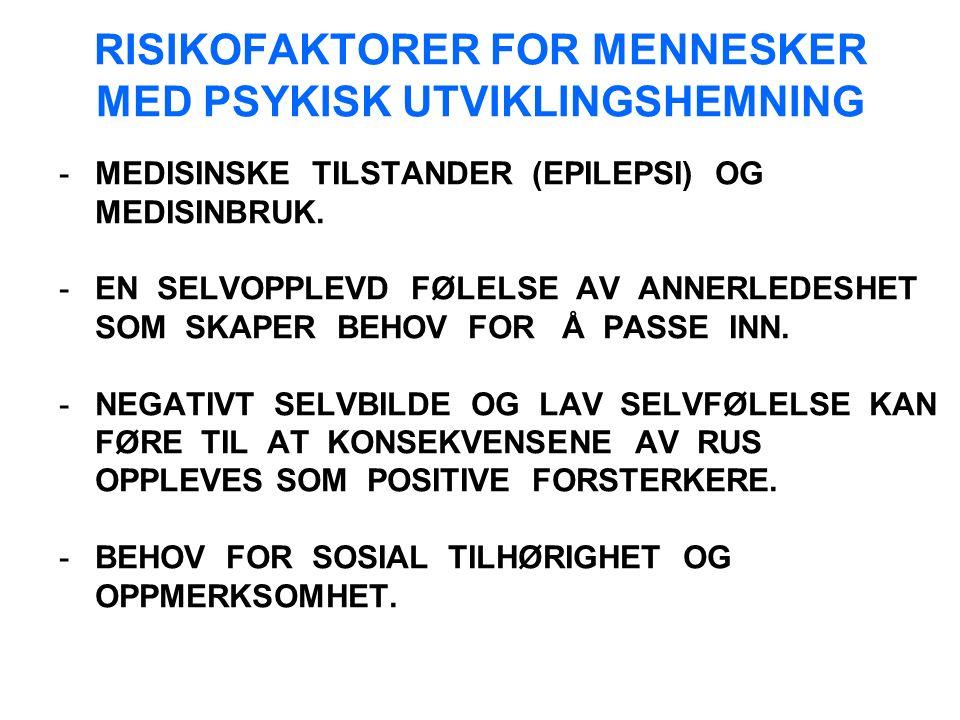 RISIKOFAKTORER FOR MENNESKER MED PSYKISK UTVIKLINGSHEMNING -MEDISINSKE TILSTANDER (EPILEPSI) OG MEDISINBRUK.