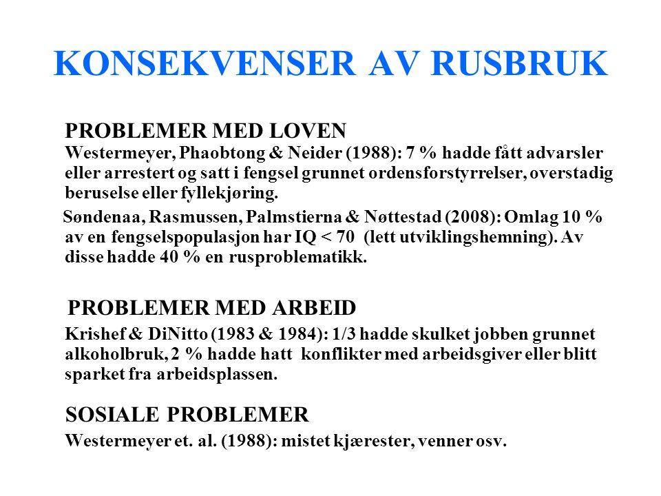 KONSEKVENSER AV RUSBRUK PROBLEMER MED LOVEN Westermeyer, Phaobtong & Neider (1988): 7 % hadde fått advarsler eller arrestert og satt i fengsel grunnet ordensforstyrrelser, overstadig beruselse eller fyllekjøring.