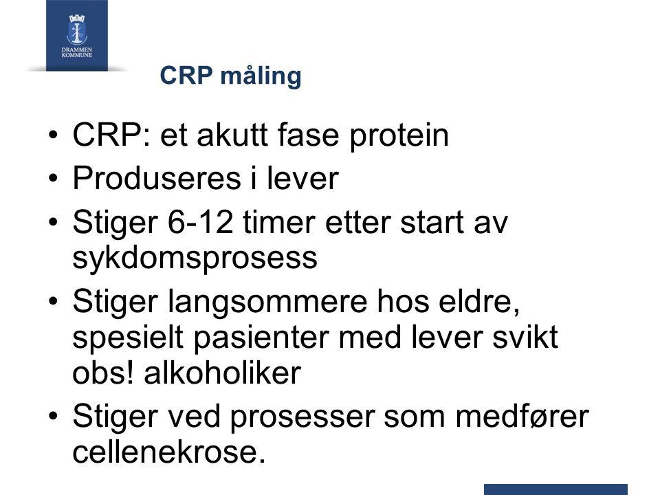 CRP måling CRP: et akutt fase protein Produseres i lever Stiger 6-12 timer etter start av sykdomsprosess Stiger langsommere hos eldre, spesielt pasienter med lever svikt obs.