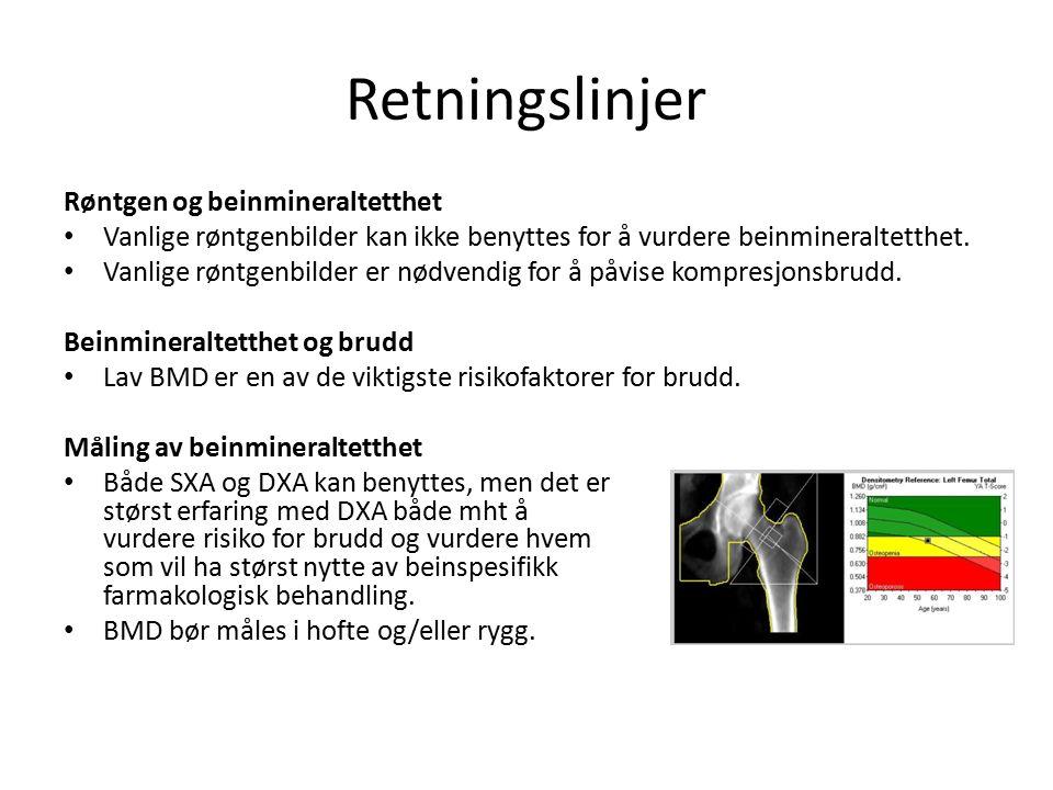 Retningslinjer Røntgen og beinmineraltetthet Vanlige røntgenbilder kan ikke benyttes for å vurdere beinmineraltetthet.