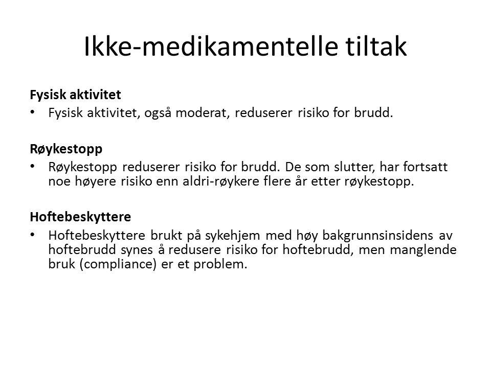 Ikke-medikamentelle tiltak Fysisk aktivitet Fysisk aktivitet, også moderat, reduserer risiko for brudd.