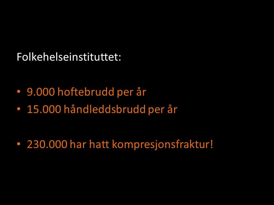 Folkehelseinstituttet: 9.000 hoftebrudd per år 15.000 håndleddsbrudd per år 230.000 har hatt kompresjonsfraktur!