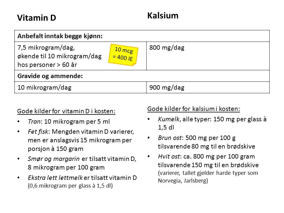 Vitamin D Gode kilder for vitamin D i kosten: Tran: 10 mikrogram per 5 ml Fet fisk: Mengden vitamin D varierer, men er anslagsvis 15 mikrogram per porsjon à 150 gram Smør og margarin er tilsatt vitamin D, 8 mikrogram per 100 gram Ekstra lett lettmelk er tilsatt vitamin D (0,6 mikrogram per glass à 1,5 dl) Kalsium Gode kilder for kalsium i kosten: Kumelk, alle typer: 150 mg per glass à 1,5 dl Brun ost: 500 mg per 100 g tilsvarende 80 mg til en brødskive Hvit ost: ca.