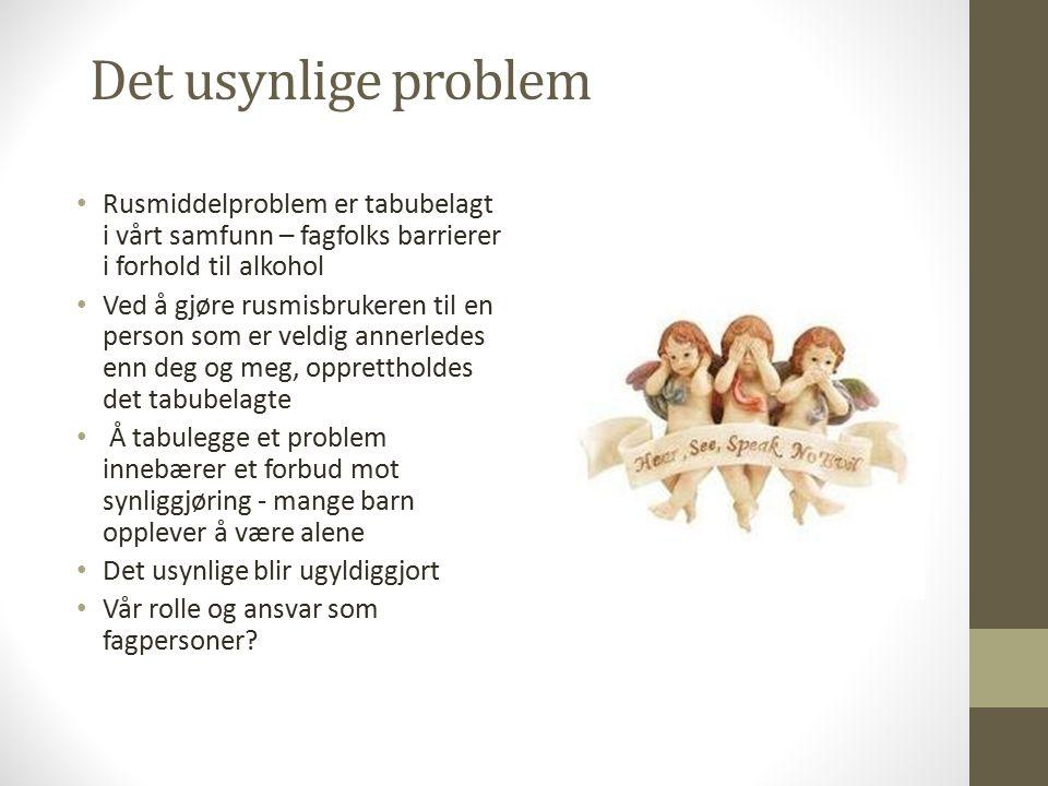 Folkehelseinstituttets rapport 2011 I løpet av det siste året var det 90.000 barn (8,3%) som hadde foreldre som misbrukte alkohol Rundt 70.000 barn (6,5%) hadde foreldre med såpass alvorlig misbruk at det sannsynligvis går ut over daglig fungering Rundt 30.000 barn (2,7%) hadde foreldre med alvorlig alkoholmisbruk Dobling av risiko for å utvikle psykisk lidelse, oppleve mishandling, bli utsatt for overgrep