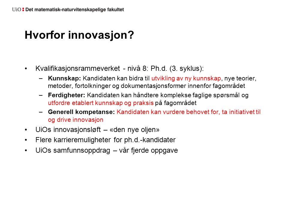Hvorfor innovasjon. Kvalifikasjonsrammeverket - nivå 8: Ph.d.