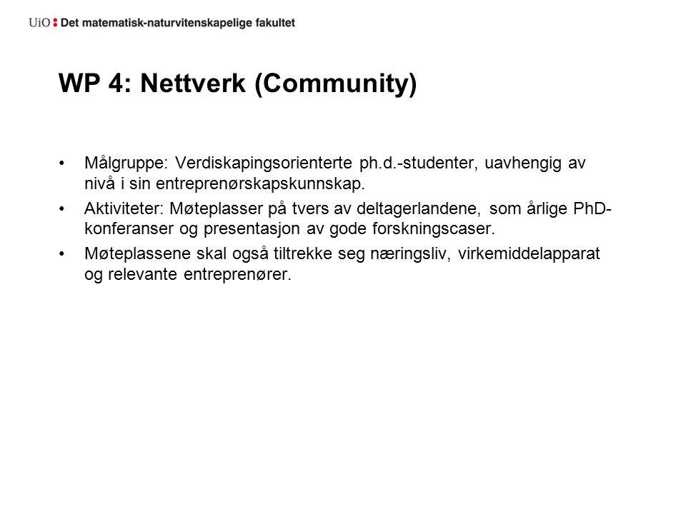WP 4: Nettverk (Community) Målgruppe: Verdiskapingsorienterte ph.d.-studenter, uavhengig av nivå i sin entreprenørskapskunnskap.