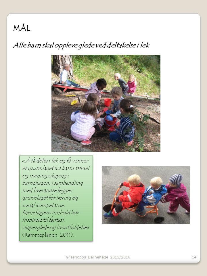 MÅL Alle barn skal oppleve glede ved deltakelse i lek 14 «Å få delta i lek og få venner er grunnlaget for barns trivsel og meningsskaping i barnehagen.