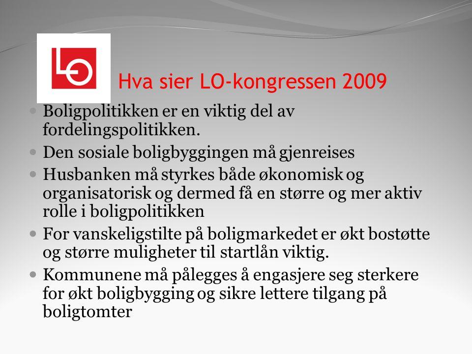 Hva sier LO-kongressen 2009 Boligpolitikken er en viktig del av fordelingspolitikken.
