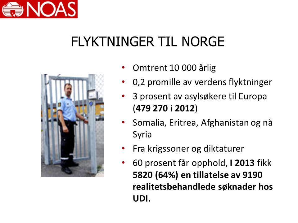 FLYKTNINGER TIL NORGE Omtrent 10 000 årlig 0,2 promille av verdens flyktninger 3 prosent av asylsøkere til Europa (479 270 i 2012) Somalia, Eritrea, Afghanistan og nå Syria Fra krigssoner og diktaturer 60 prosent får opphold, I 2013 fikk 5820 (64%) en tillatelse av 9190 realitetsbehandlede søknader hos UDI.