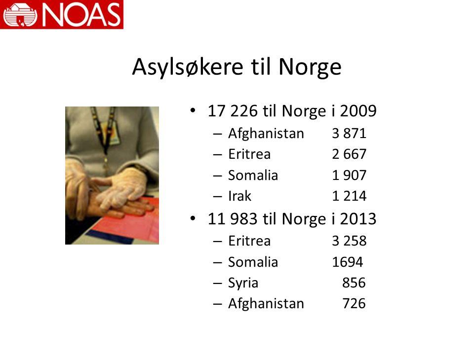 Asylsøkere til Norge 17 226 til Norge i 2009 – Afghanistan 3 871 – Eritrea 2 667 – Somalia 1 907 – Irak 1 214 11 983 til Norge i 2013 – Eritrea 3 258 – Somalia 1694 – Syria 856 – Afghanistan 726
