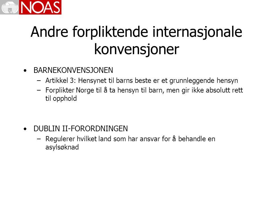 Andre forpliktende internasjonale konvensjoner BARNEKONVENSJONEN –Artikkel 3: Hensynet til barns beste er et grunnleggende hensyn –Forplikter Norge til å ta hensyn til barn, men gir ikke absolutt rett til opphold DUBLIN II-FORORDNINGEN –Regulerer hvilket land som har ansvar for å behandle en asylsøknad