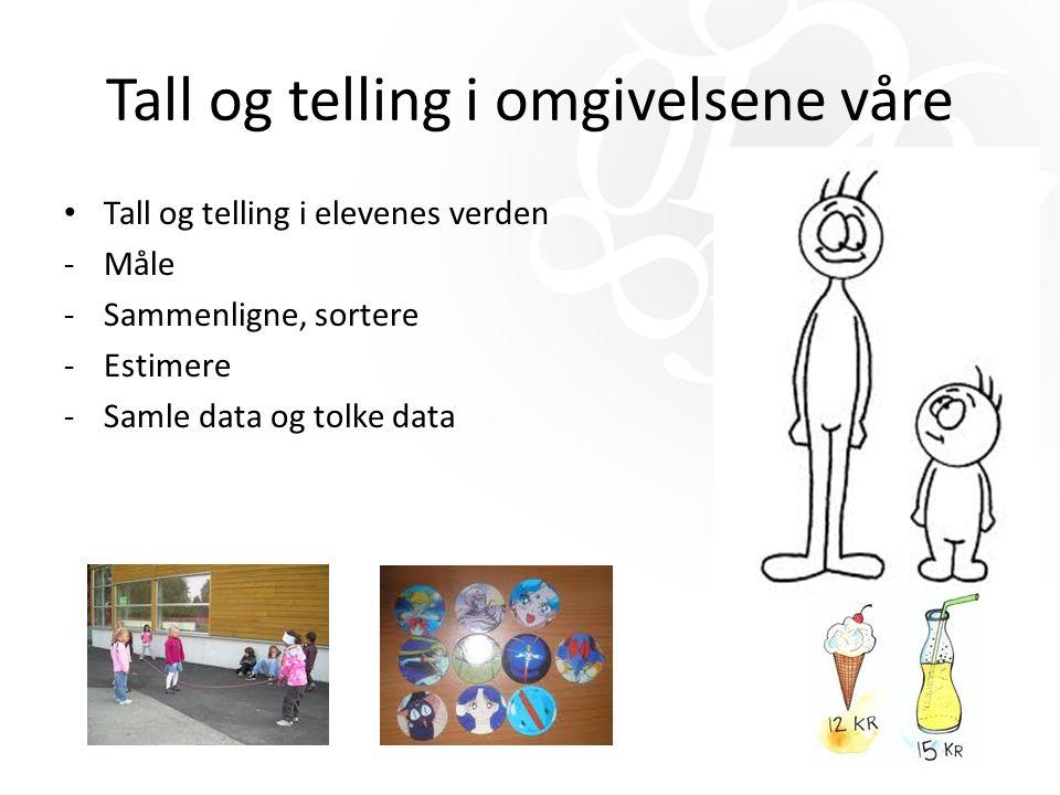 Tall og telling i omgivelsene våre Tall og telling i elevenes verden -Måle -Sammenligne, sortere -Estimere -Samle data og tolke data