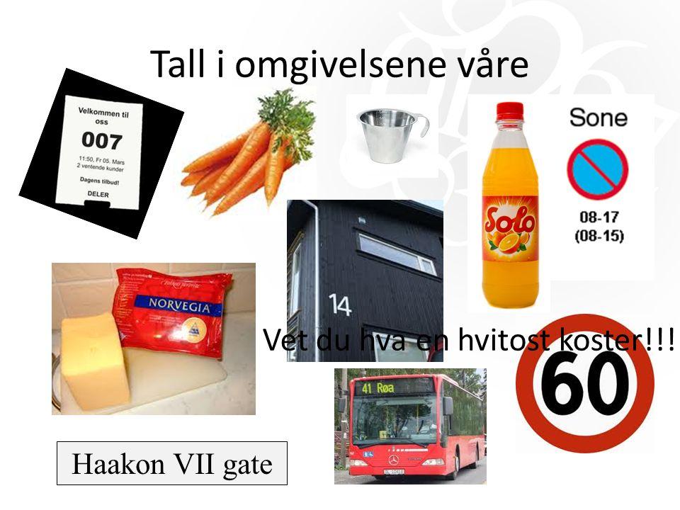 Tall i omgivelsene våre Haakon VII gate Vet du hva en hvitost koster!!!