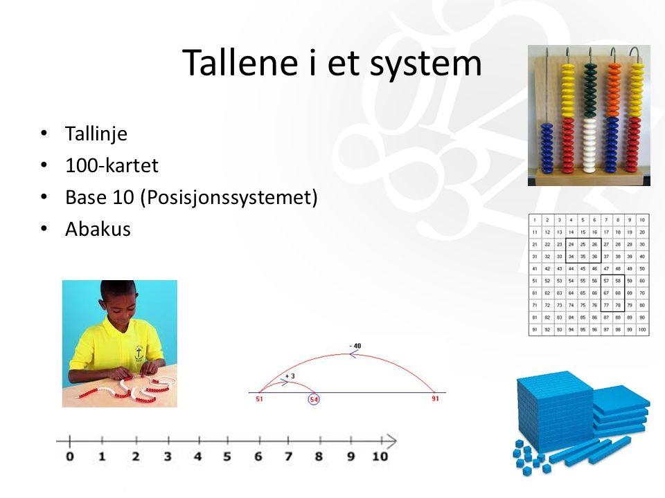 Tallene i et system Tallinje 100-kartet Base 10 (Posisjonssystemet) Abakus