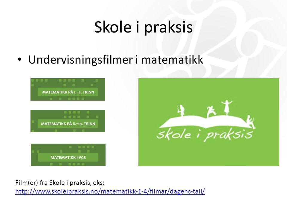 Skole i praksis Undervisningsfilmer i matematikk Film(er) fra Skole i praksis, eks; http://www.skoleipraksis.no/matematikk-1-4/filmar/dagens-tall/