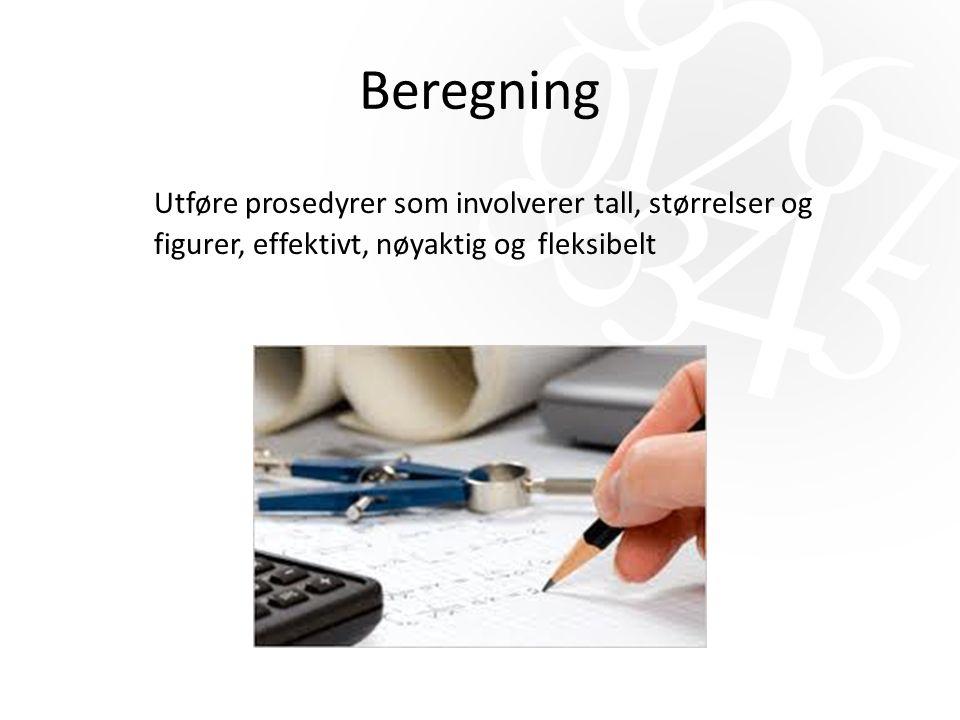 Beregning Utføre prosedyrer som involverer tall, størrelser og figurer, effektivt, nøyaktig og fleksibelt