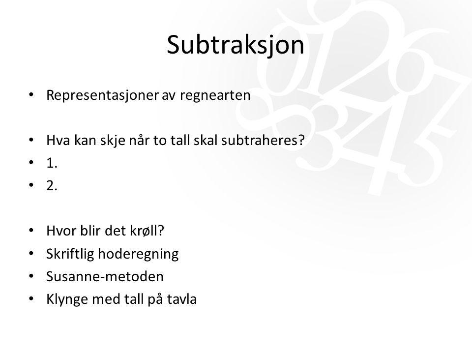 Subtraksjon Representasjoner av regnearten Hva kan skje når to tall skal subtraheres.