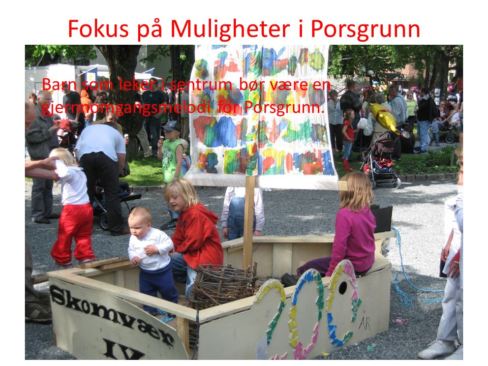 Fokus på Muligheter i Porsgrunn Barn som leker i sentrum bør være en gjernnomgangsmelodi for Porsgrunn.