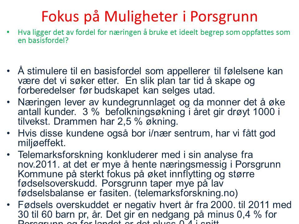 Fokus på Muligheter i Porsgrunn Hva ligger det av fordel for næringen å bruke et ideelt begrep som oppfattes som en basisfordel.