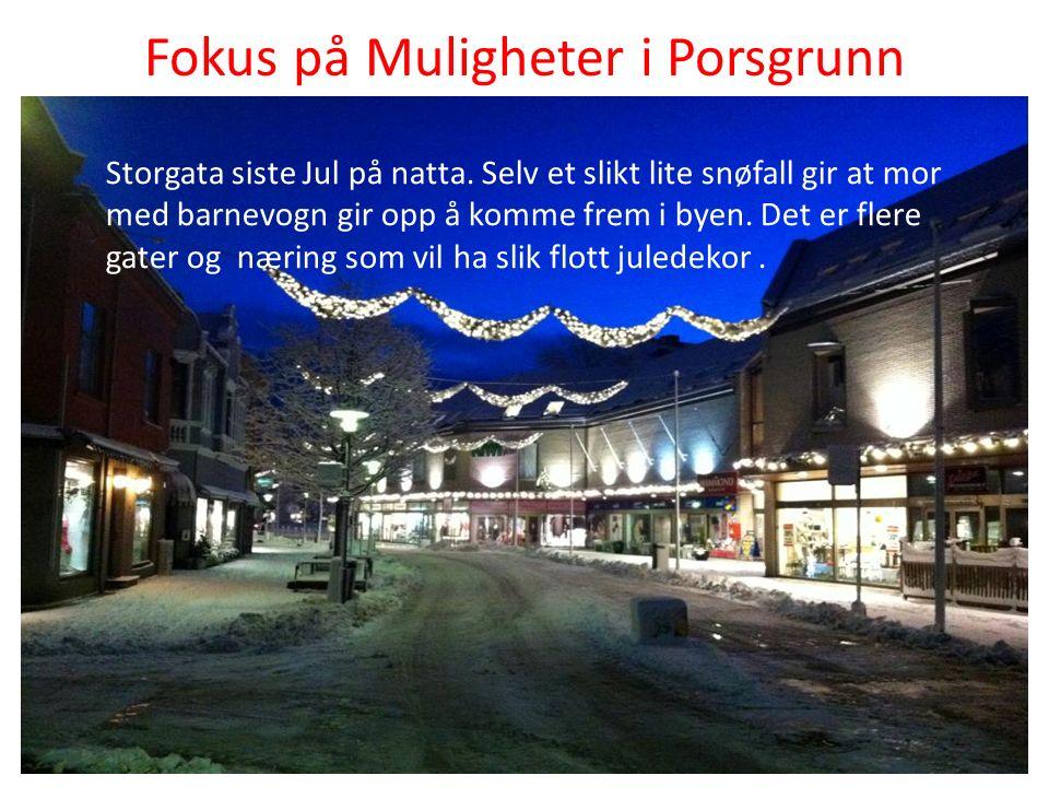 Fokus på Muligheter i Porsgrunn Storgata siste Jul på natta.