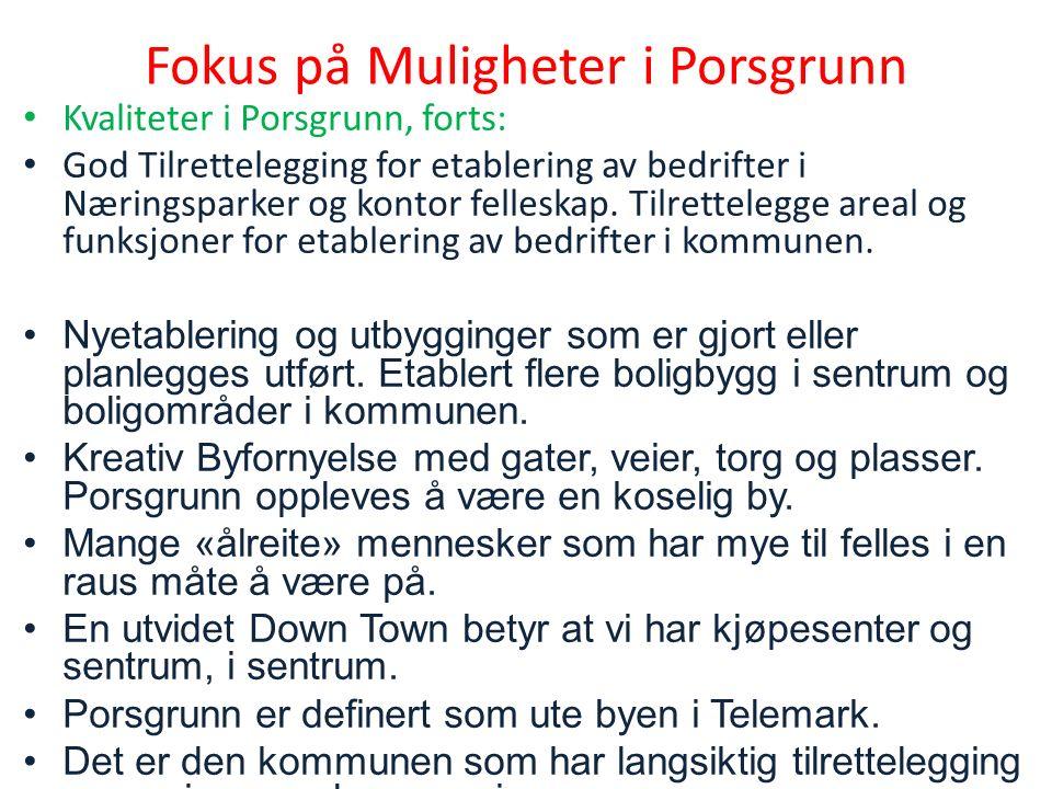 Fokus på Muligheter i Porsgrunn Kvaliteter i Porsgrunn, forts: God Tilrettelegging for etablering av bedrifter i Næringsparker og kontor felleskap.