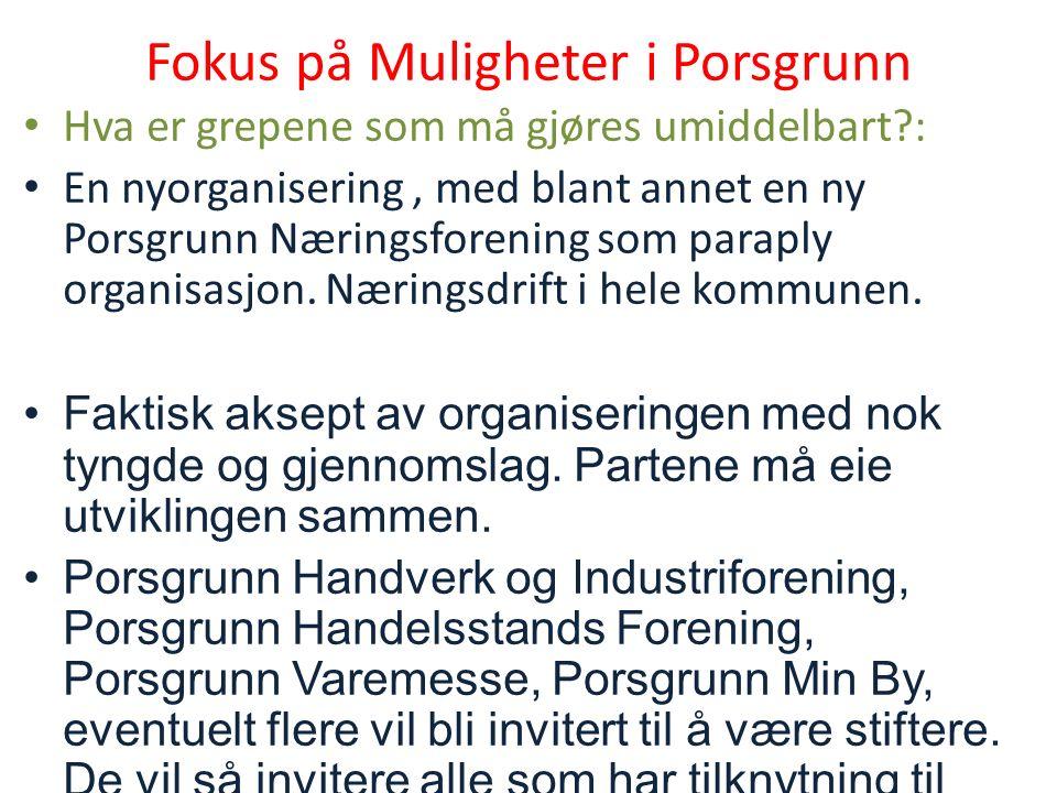 Fokus på Muligheter i Porsgrunn Hva er grepene som må gjøres umiddelbart : En nyorganisering, med blant annet en ny Porsgrunn Næringsforening som paraply organisasjon.