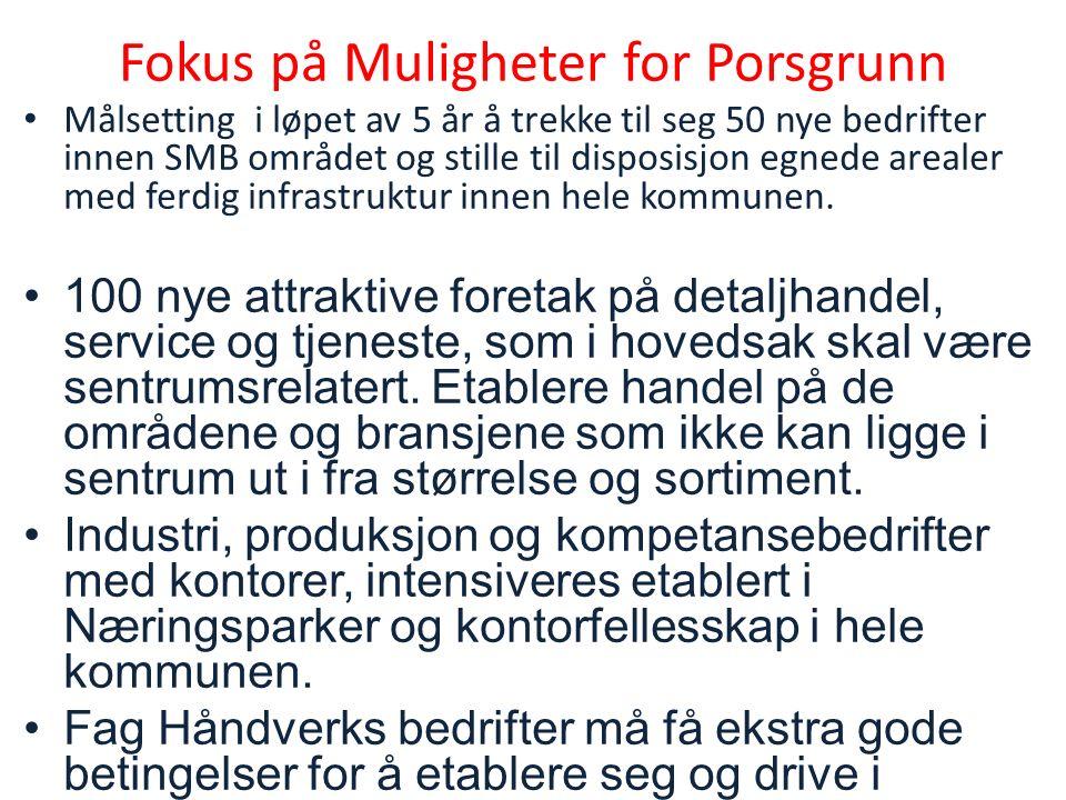 Fokus på Muligheter for Porsgrunn Målsetting i løpet av 5 år å trekke til seg 50 nye bedrifter innen SMB området og stille til disposisjon egnede arealer med ferdig infrastruktur innen hele kommunen.