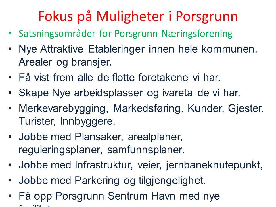 Satsningsområder for Porsgrunn Næringsforening Nye Attraktive Etableringer innen hele kommunen.