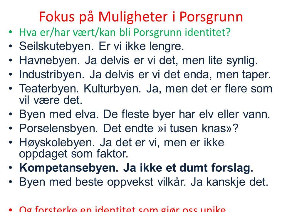 Fokus på Muligheter i Porsgrunn Hva er/har vært/kan bli Porsgrunn identitet.